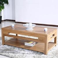 北欧篱笆全实木榆木茶几简约现代原木双层茶几小户型客厅家具