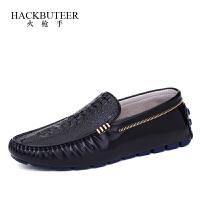 HACKBUTEER火枪手男士皮鞋鳄鱼纹牛皮驾车男鞋平底舒适日常套脚商务休闲鞋子