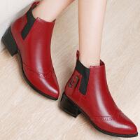 古奇天伦 新款粗跟短筒秋冬季欧美时尚圆头套筒马丁靴子靴女靴 GQ8524