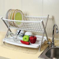 [当当自营]宝优妮 放碗架碗碟架置物架餐具收纳水杯架不锈钢晾碗架厨房沥水架DQ0935