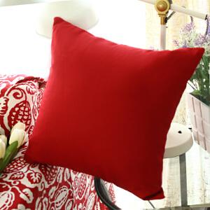 乐唯仕纯色靠枕午睡床头靠背汽车腰靠腰枕办公室抱枕套沙发靠垫抱枕 大红 抱枕45*45含芯