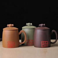 陶瓷故事 宜兴正宗原矿紫砂茶杯 高级匠师纯手工制作 绿泥(马到成功)礼盒装