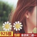 欧丁 韩版925小雏菊花朵耳钉纯银女甜美防过敏小清新T