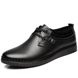 格罗堡春季新款男鞋休闲皮鞋英伦商务休闲鞋圆头低帮系带皮鞋子