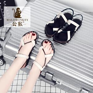 公猴2017夏季新款平底凉鞋女欧美休闲凉拖鞋学生罗马凉鞋沙滩女鞋