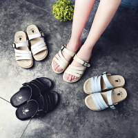 公猴2017夏季新款平底凉鞋女真皮休闲拖鞋简约学生凉拖鞋平跟凉拖