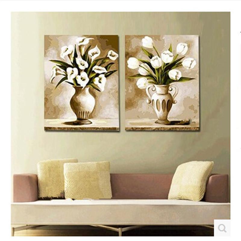 创意手绘画 数字油画手绘客厅花卉双拼二联装饰油画