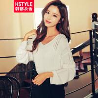 【超级品牌日】 韩都衣舍2017韩版女装春装新款宽松显瘦纯色V领针织衫DU6307⑥