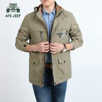 AFS JEEP夹克男秋冬新款中长款可脱卸帽加绒男士夹克外套 8002