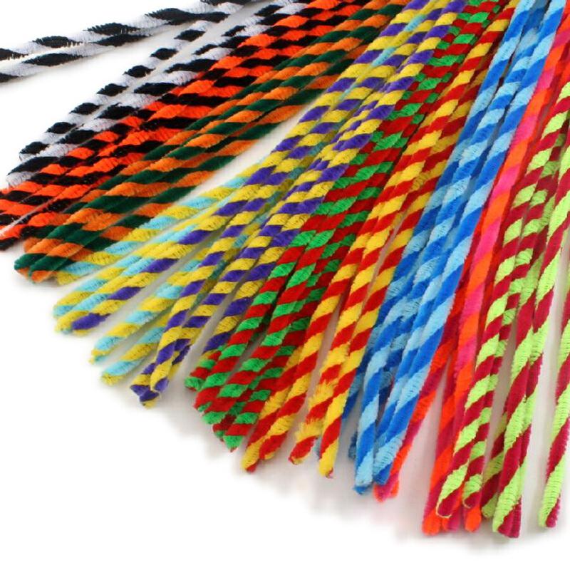 (杂色 100根)幼儿园儿童手工制作毛条毛根扭扭棒毛根条diy麻花毛根绒