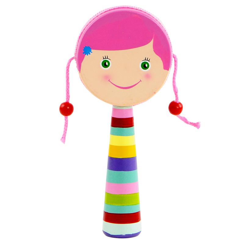 宝宝木制小乐器拨浪鼓 卡通玩具乐器儿童音乐早教小鼓皮革鼓面_玫红色