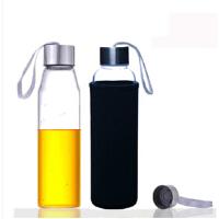 550ML耐热玻璃水瓶创意车载玻璃杯子矿泉水瓶带盖茶杯