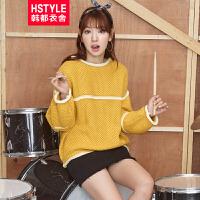 【超级品牌日】 韩都衣舍2016韩版女秋新款宽松长袖圆领套头毛衣HD5206柒