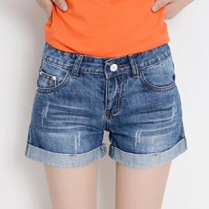 Freefeel2017夏季牛仔短裤女新款高腰翻边磨破洞卷边显瘦薄款韩版热裤子
