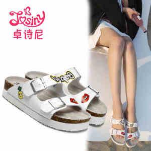 卓诗尼2017夏季新款套脚软木拖女皮带扣中跟平底卡通凉拖沙滩鞋