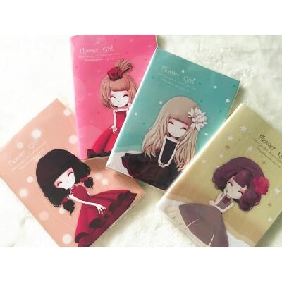 韩版文具可爱创意花花姑娘全彩页胶套本 手绘彩页涂鸦本 记事本 5本装