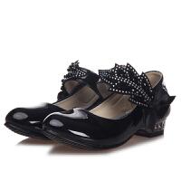新款儿童秋款鞋皮鞋公主鞋时尚公主鞋水钻方口女童单鞋中童大童