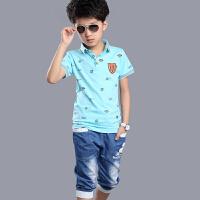 童装男童夏装套装2017新款儿童夏季短袖中大童休闲两件套薄潮