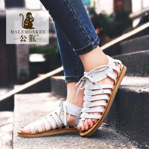 公猴夏季罗马凉鞋女平底女鞋系带欧美休闲女凉鞋平跟学生凉拖鞋潮894