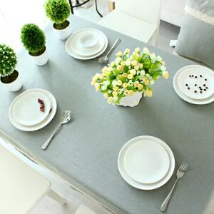 棉麻桌布春夏纯色布艺四季通用台布餐桌布茶几布可定做制