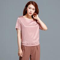 Freefeel2017夏季新款T恤女装短袖仿真丝面料时尚舒适上衣616