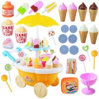 白领公社 儿童玩具 厨房玩具套装 塑料女孩过家家玩具冰淇淋手推车 儿童亲子互动游戏 12首乐曲+灯光
