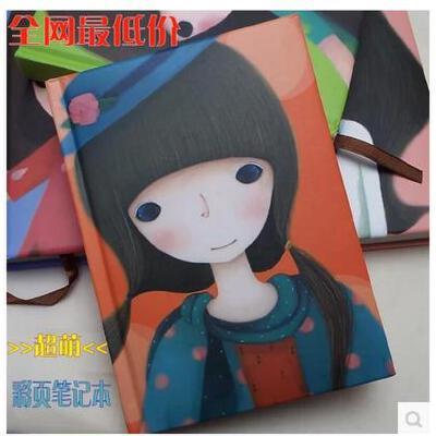 韩国文具 可爱小女孩 彩页记事本精美插画 日记本 超萌 笔记事本