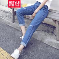 【超级品牌日】 韩都衣舍2016韩版女装秋装新款宽松水洗磨破显瘦牛仔长裤CQ5374⑥
