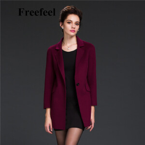 Freefeel2017新款春装羊绒大衣欧美风中长款时尚女装毛呢外套1683