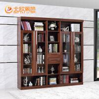 北欧篱笆实木书柜五门整体大书柜书架组合现代中式书橱家具简约