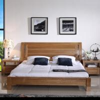 北欧篱笆 纯榆木双人床全实木床1.5 1.8婚床中式卧室家具简约现代
