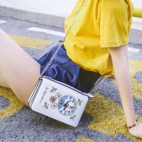 2017新款夏季时尚小包刺绣小方包明星同款包链条单肩斜跨迷你包