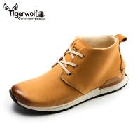 Tigerwolf虎狼公社男士商务休闲鞋 时尚百搭高帮皮鞋英伦男靴短靴