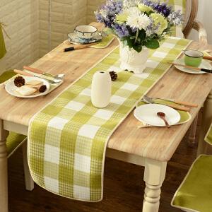 乐唯仕简约格子桌旗纯色餐桌布布艺茶几布可定做