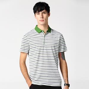 夏季新款男士短袖polo衫 条纹T恤上衣 集合智造系列