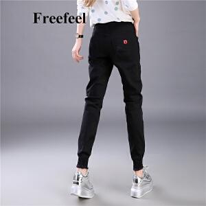 Freefeel2017春夏新款牛仔裤女黑色修身显瘦松紧裤弹力百搭大码铅笔裤女裤