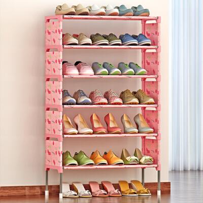 思故轩简易多层鞋架 组装防尘鞋柜简约现代经济型铁艺收纳K127加高脚 加固 拆一层放靴子
