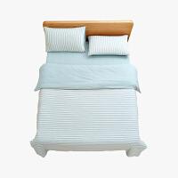 当当优品家纺 全棉日式针织床品 1.5米床 床笠四件套 条纹水蓝