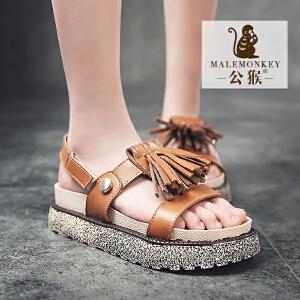 公猴夏季新款罗马凉鞋女流苏平底松糕凉鞋真皮平跟凉鞋简约沙滩鞋