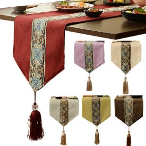 乐唯仕新中式桌旗现代欧式美式桌布茶几布桌垫床旗床尾巾吊穗桌旗