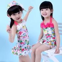 新款儿童泳衣 女童连体裙式游泳衣 中小女孩韩版宝宝 配泳帽包邮