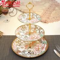 白领公社 陶瓷水果盘 欧式客厅创意现代家用下午茶点心架玻璃蛋糕三层托盘子餐具家居日用品