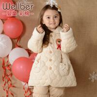 威尔贝鲁 儿童棉衣棉袄 女童 新生婴儿宝宝棉衣外套 纯棉加厚秋冬
