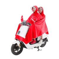 男女大厚透明帽檐头盔电动电瓶车双人雨衣  双帽檐雨披
