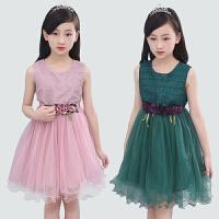 童装女童新款连衣裙中大儿童韩版无袖收腰公主裙宝宝纯色连衣裙子