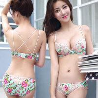 森绿印花蕾丝文胸套装日系甜美可爱少女聚拢加厚杯三排扣内衣