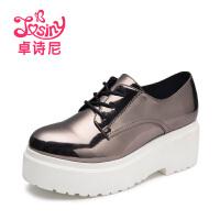 卓诗尼单鞋2016秋季新款松糕休闲高跟系带纯色女鞋子
