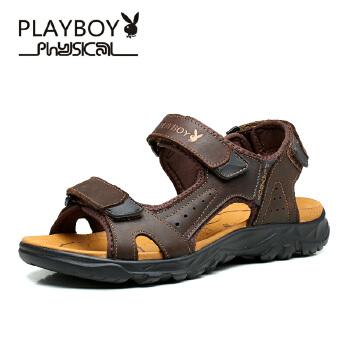 花花公子夏季男鞋凉鞋防滑沙滩鞋魔术贴露趾凉鞋夏天休闲鞋子PTCX39515