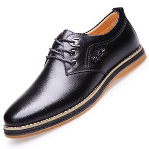 格罗堡春季新款男士休闲鞋子时尚英伦潮流系带休闲皮鞋舒适运动板鞋