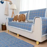 乐唯仕布艺格子沙发垫编织棉线沙发套沙发罩支持定做